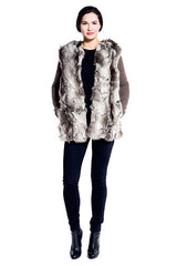 Winterland Faux Fur Vest in Grey Fox