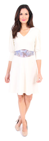 Custom Print Sarah Dress in Winter White
