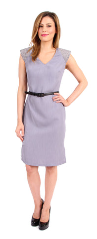Shelly Shoulder Pad Dress in Blue Grey