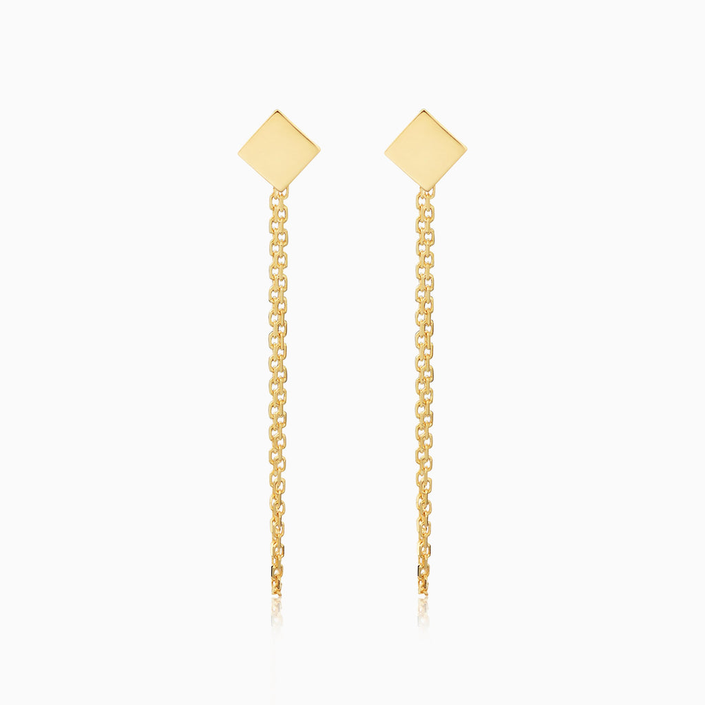 Draped in Gold Square Earrings