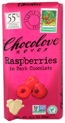 Raspberries in Dark Chocolate Bar