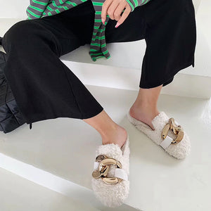 Santos Fur Loafer Mules