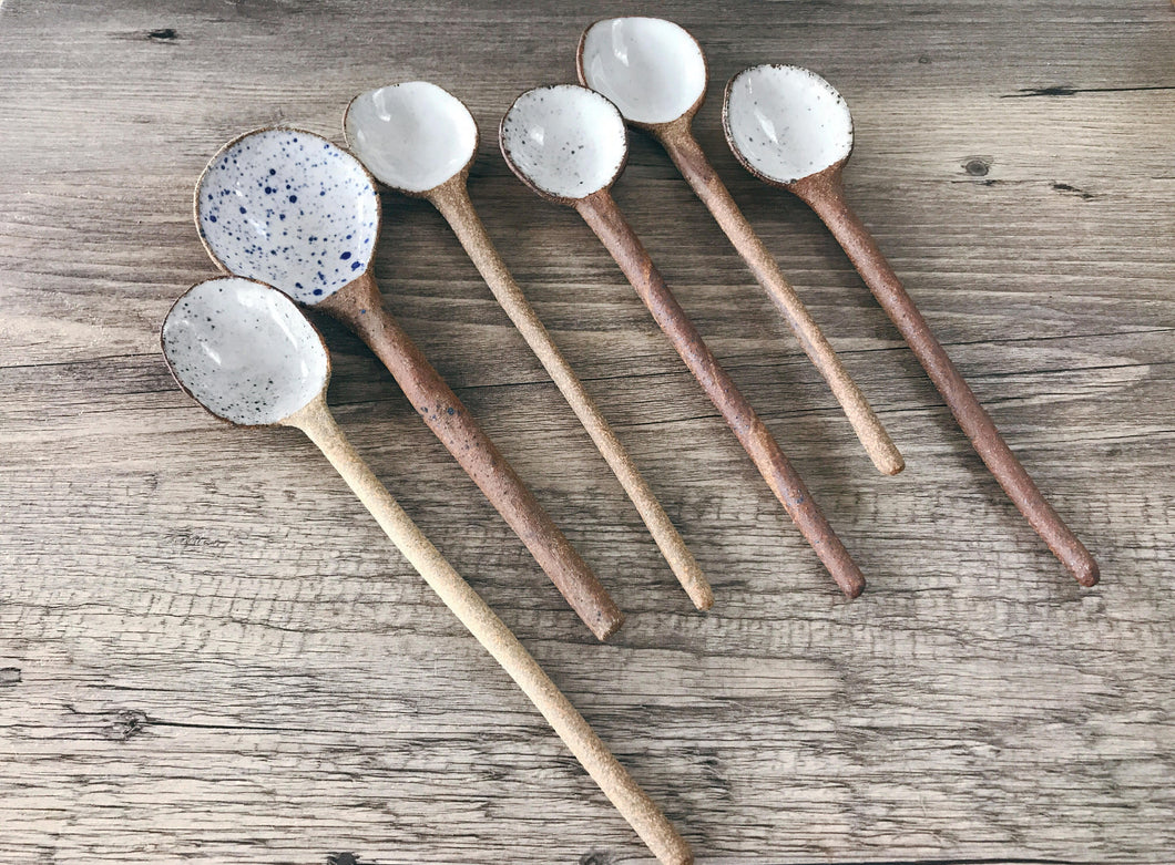 Ceramic Stoneware Spoons, Handmade, ready to ship.