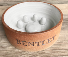 Load image into Gallery viewer, Ceramic Slow bowl (Slow Feeder or No Gulp Bowl) Personalized with Name