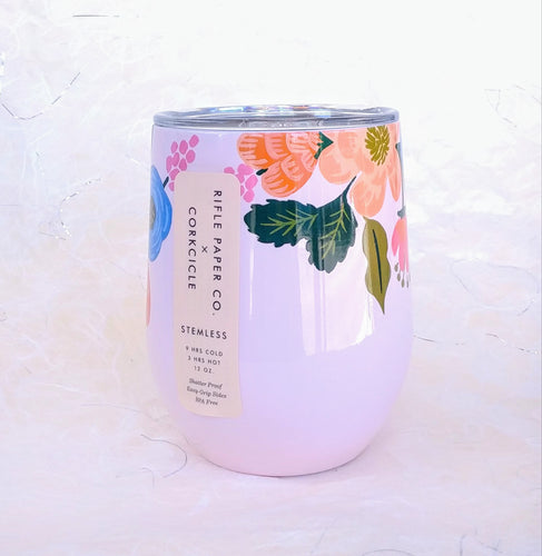 Rifle Stemless Wine Cup- Lively Floral Blush  RP2312GBL