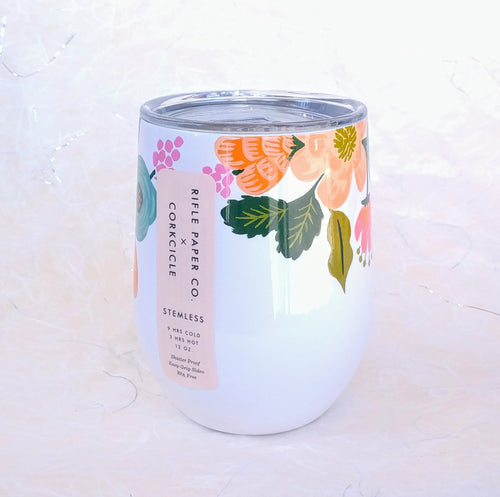 Rifle Stemless Wine Cup- Lively Floral Cream