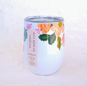 Rifle Stemless Wine Cup- Lively Floral Cream  RP2312GCL