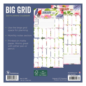 Small Wall Calendar- TF 2021 Big Grid  #21-2087