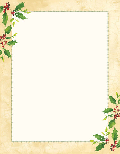 Falling Holly Stationery, pkg. 40  #2015049