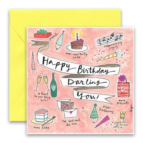 Curly Girl Birthday Card: Darling You!   #SQDY76