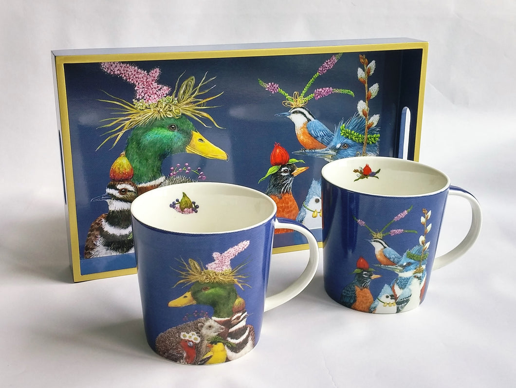 Animals with Hats Mugs and Tray