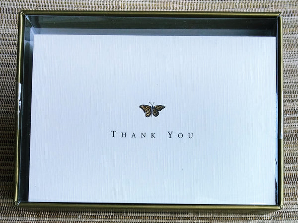 Gold Butterfly Thank You Notes