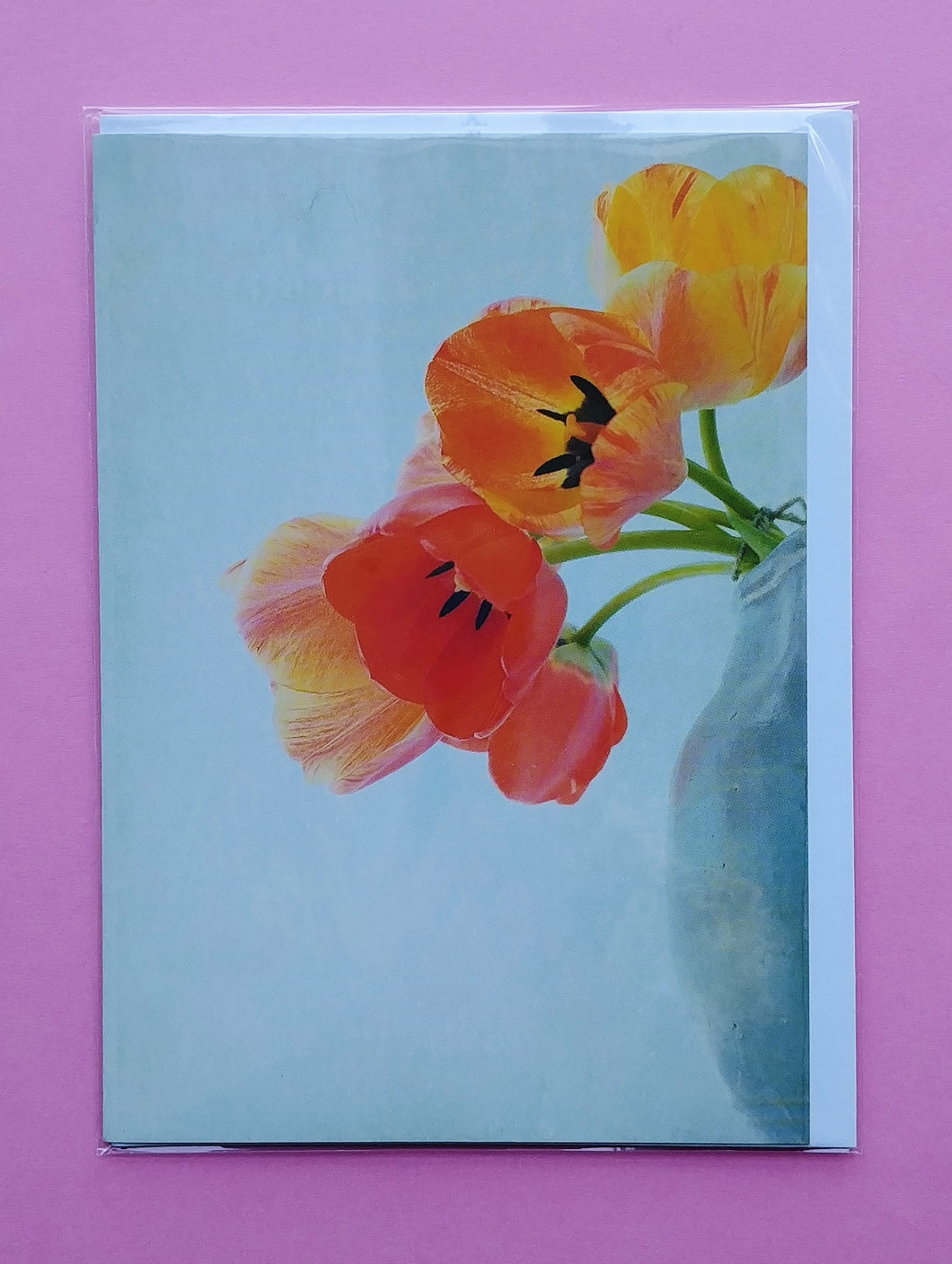 Tulips in Vase Blank Greeting Card