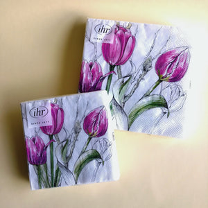 Colourful Tulips Pink Napkins