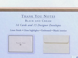 Black and Cream Thank You Notes    #1063