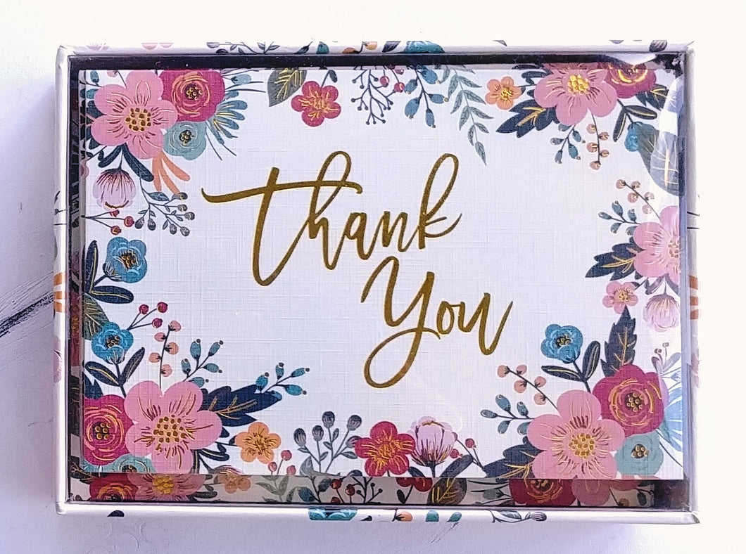 Floral Frame Thank You Note Cards