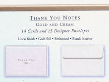 Load image into Gallery viewer, Gold and Cream Thank You Notes   #1071
