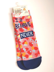Women's Ankle Socks: I'll Behave Never SW643