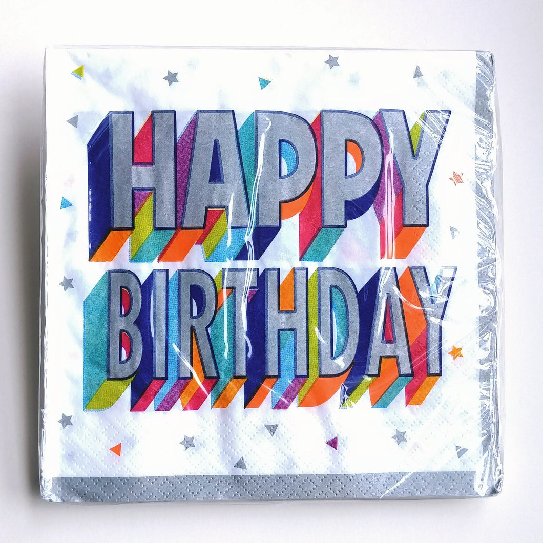 Silver & Brights Birthday Napkins