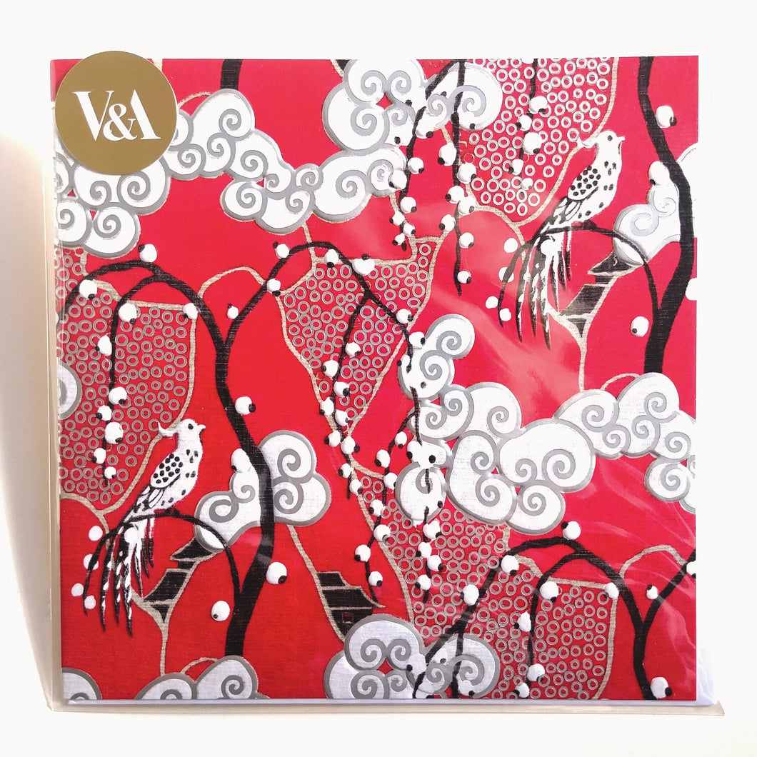 V & A Blank Card- Red Fabric