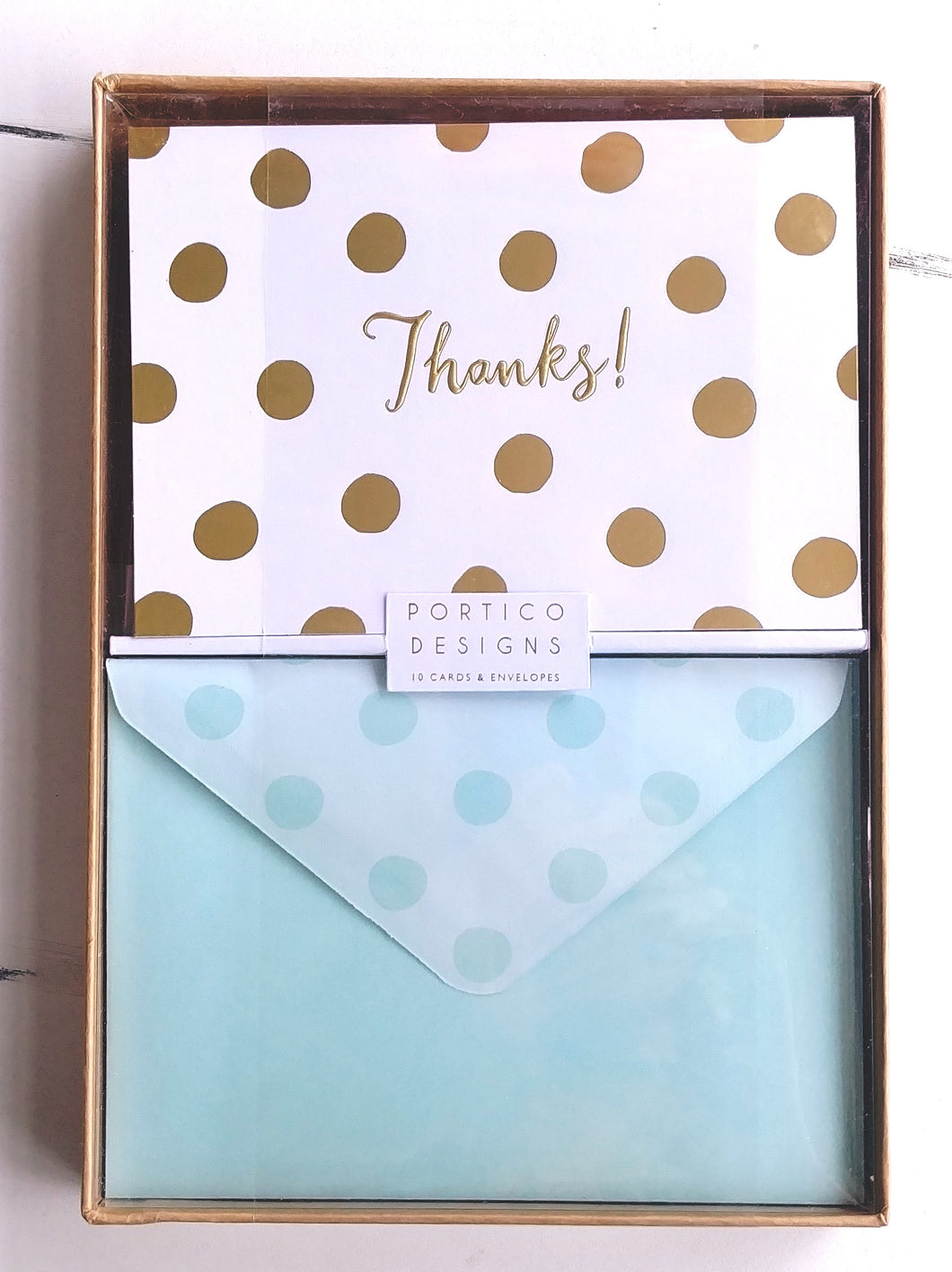 Portico Deluxe Boxed Thank You Notes- Gold Dot    GTPNC31