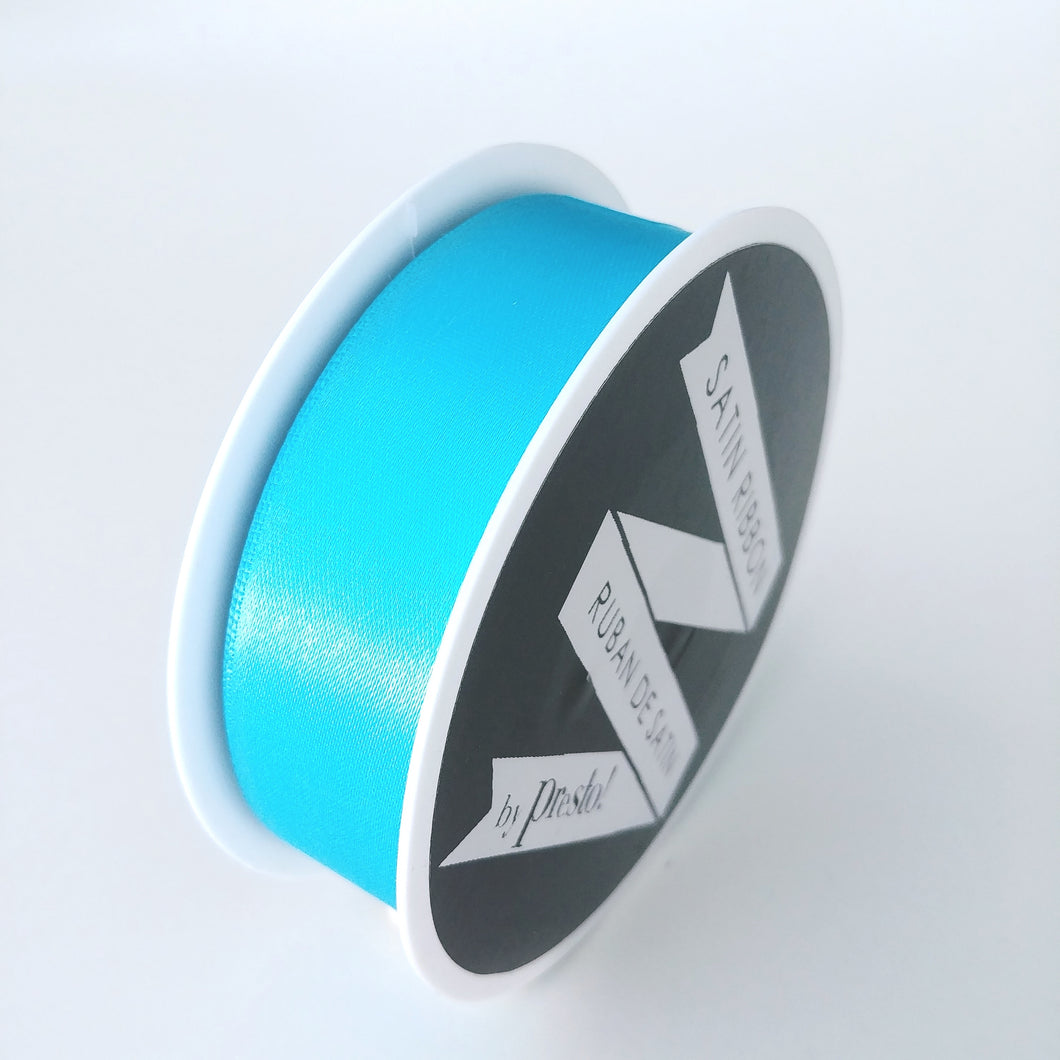 Satin Ribbon- 25mm- 10 yds- Aqua. #25320