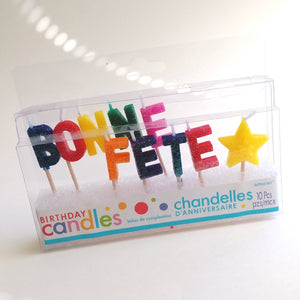 Glitter Bonne Fete Candles