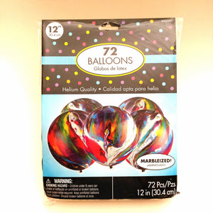 "Marbleized Balloons 12"" Round- 72 pieces"