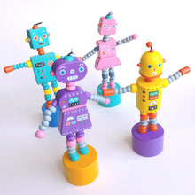 Load image into Gallery viewer, Robot Lady Push Puppet- Purple