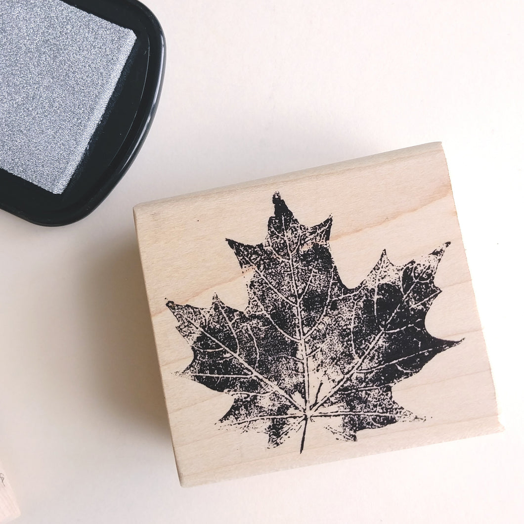 Pressed Maple Leaf Rubber Stamp