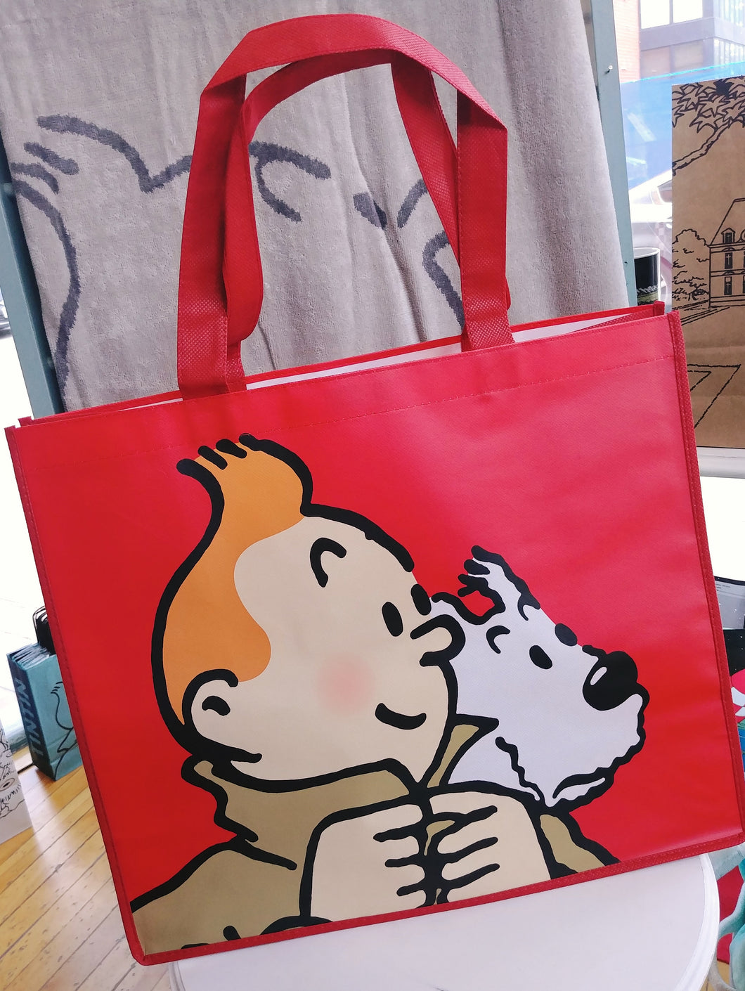 Tintin Reusable Tote- X-Large Red