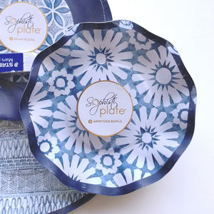 Navy Blue & White Paper Plates/Bowls