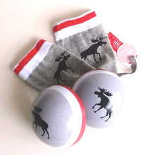 Load image into Gallery viewer, Women's Socks in a Ball- Moose on Grey  BA7WIM0179