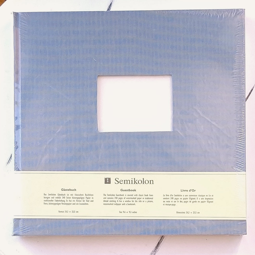 Semikolon Fabric Guest Book- Sky Grey/Blue