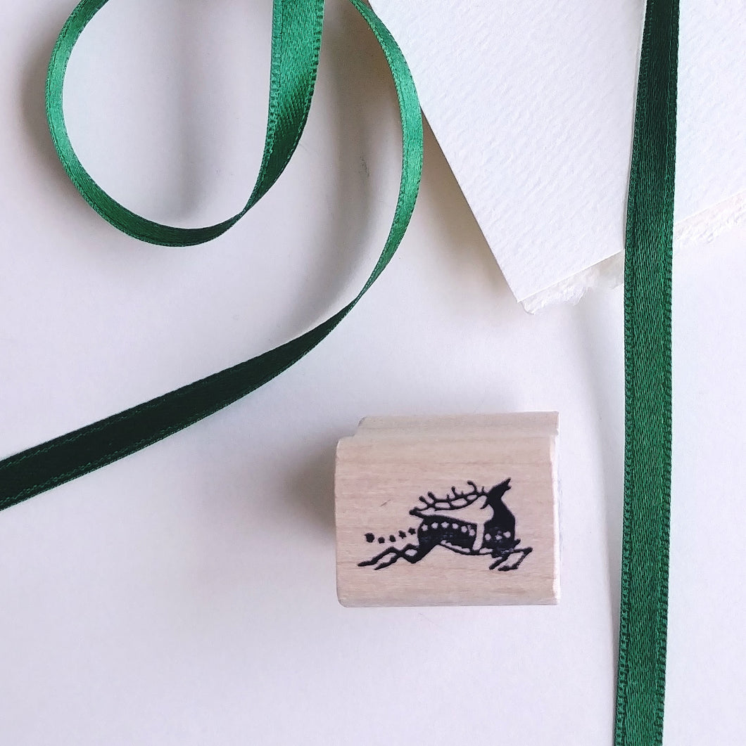 Dashing Reindeer Tiny Rubber Stamp