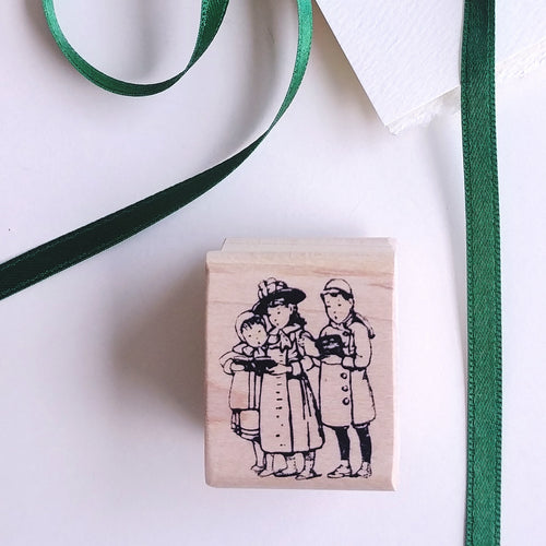 Children Carolling Rubber Stamp   #02006E