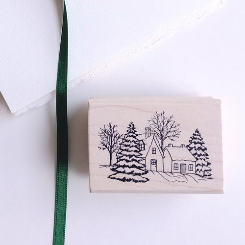Winter Homestead Rubber Stamp