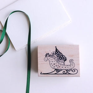 Sleigh with Gifts Rubber Stamp   #02023J