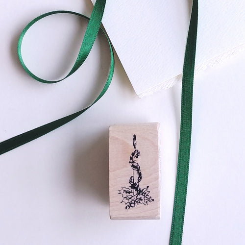 Christmas Candle Tiny Rubber Stamp   #02102E