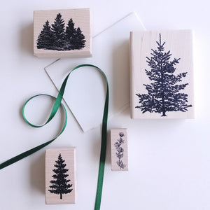 Evergreen Trees Rubber Stamp