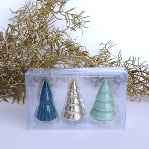 Porcelain Trees: Green- Small, set of three  XM5741