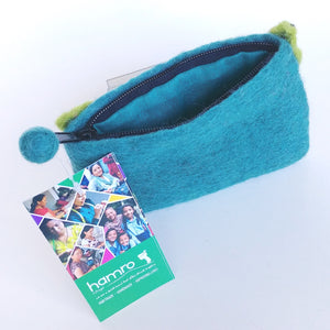 Fair Trade Felted Wool Purse- Posy Green FFLP2