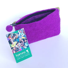 Load image into Gallery viewer, Fair Trade Felted Wool Purse- Posy Purple FFLP2