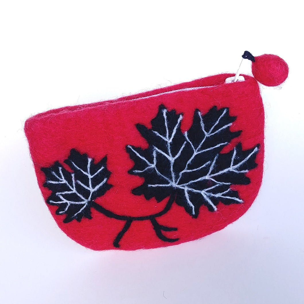 Fair Trade Felted Wool Purse- Maple Leaf  VCP-5