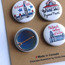 Load image into Gallery viewer, Ottawa Cityscape Pin Buttons
