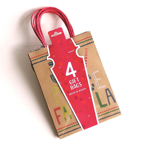 Holiday Kraft Tote Bags- set of four  #160514