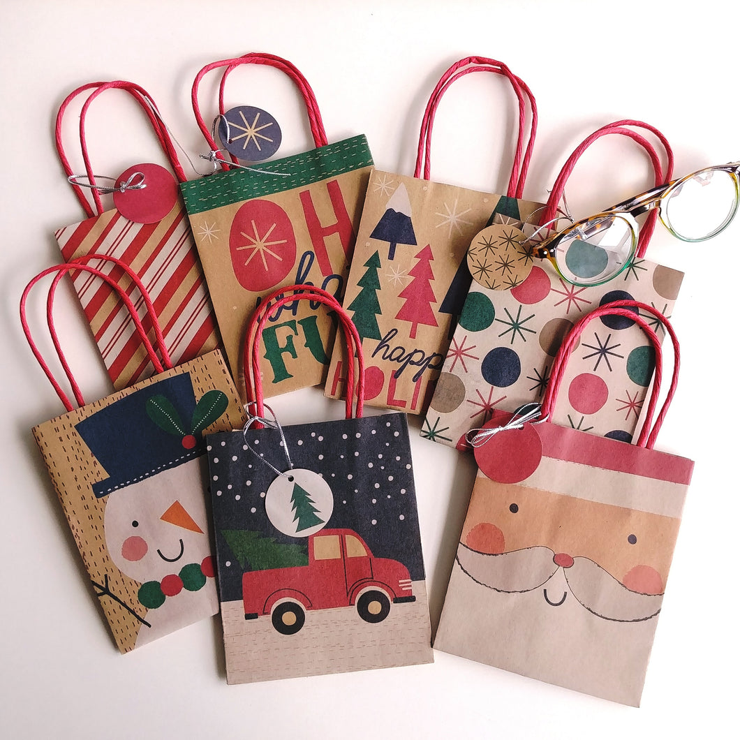 Holiday Mini Kraft Tote Bags- set of seven  #160512