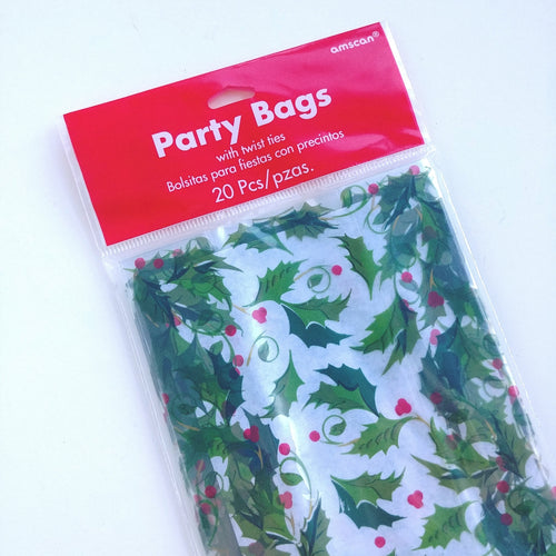 Cellophane Treat Bags- Holly  #378523