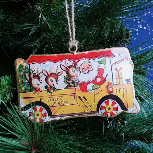 Metal Ornament: Santa Bus Yellow  #A90001-1