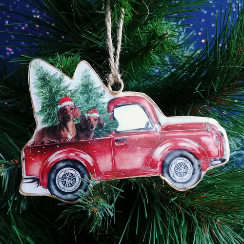 Metal Ornament: Truck with Dogs  #A90000-1